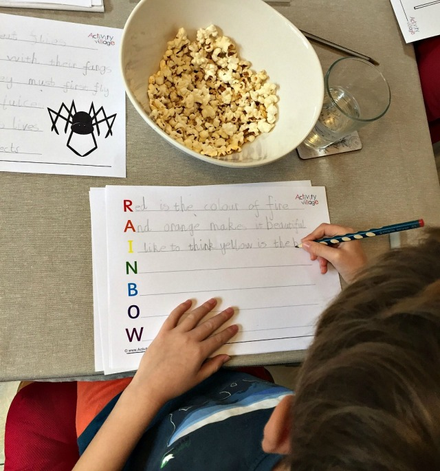 writing Acrostic poems while eating popcorn