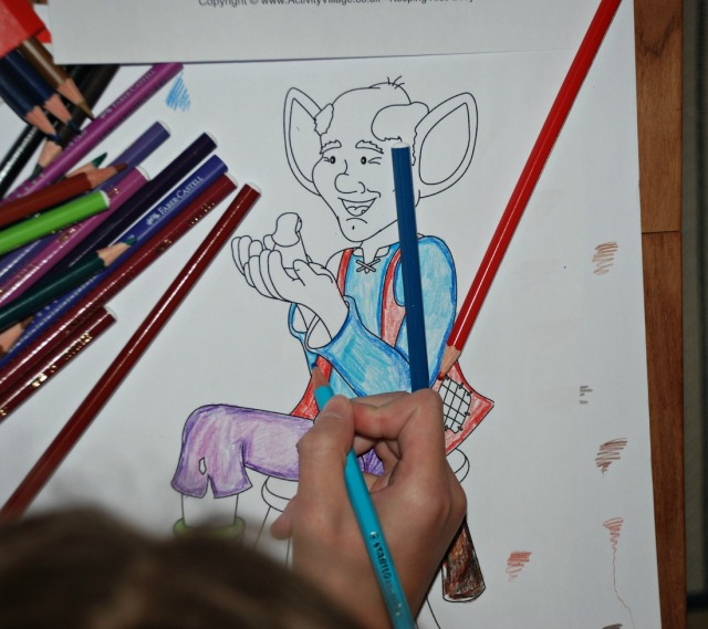 colouring the BFG picture while listening to the audio story