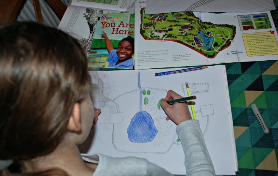 creating maps of a small area showing roads and rivers inspired by the Collins Mapstart books