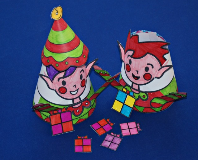 MrsMactivity Christmas Cone people. Print out the black and white set and let the kids decorate them