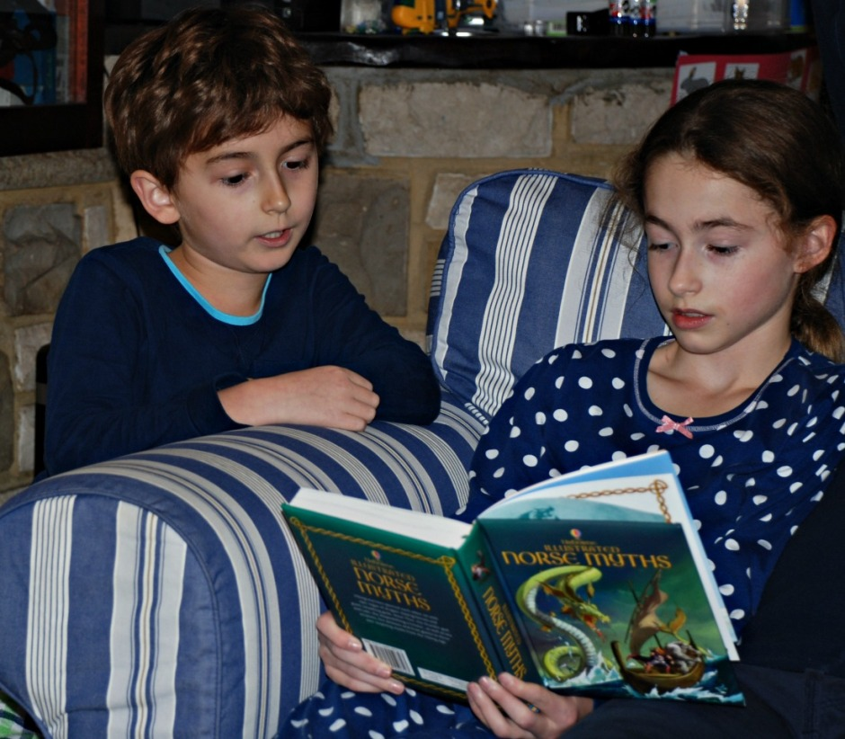 reading the Usborne Illustrated Norse Myths book together. Great for understanding Viking Mythology