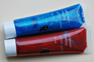 Tiger Glitter paint that you can buy in store in sets of 3