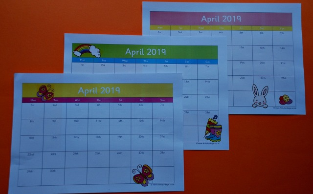 Activity Village 2019 Calendar pages