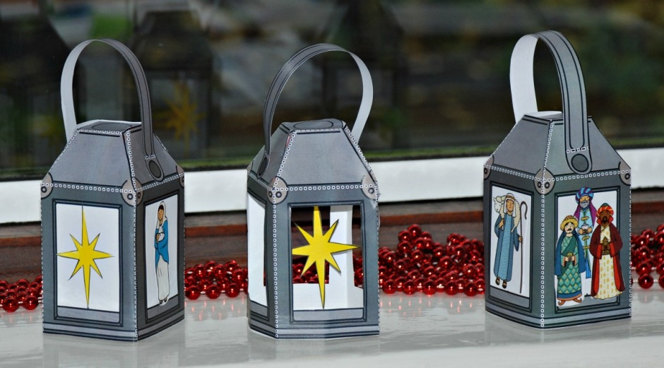 Christmas lanterns made using story stone and colouring page images