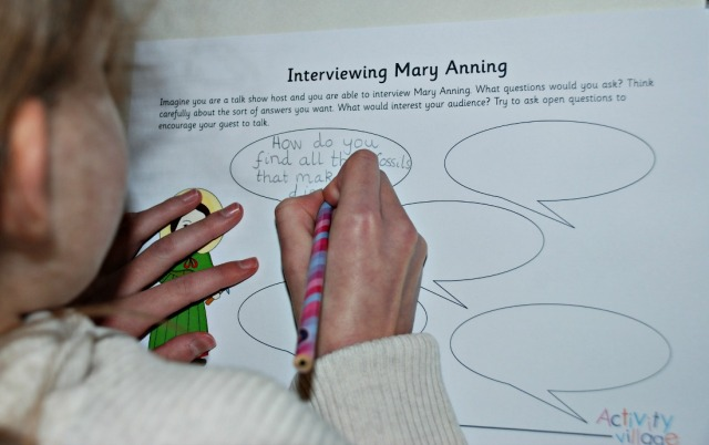 Mary Anning Interview worksheet from Activity Village