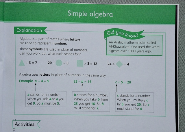 Number patterns and Algebra workbook an example of an explanation included in the book