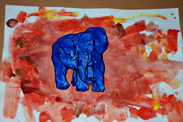 Blue elephant in a Sandstorm. Elephant template from Activity Village