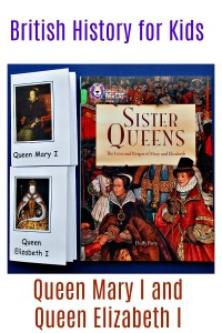 British History for kids.  Sister Queens, Queen mary I and Queen Elizabeth I.  A book to read and booklets to write in