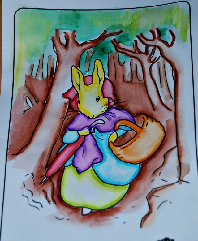 Picture from the Peter Rabbit pack from Twinkl using felt tip pens and water