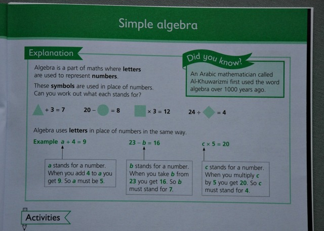 Example of the explanations included in the Schofield & Sims Number Patterns and Algebra workbooks