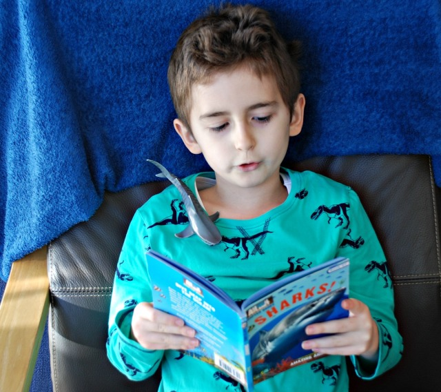 Reading his Shark book