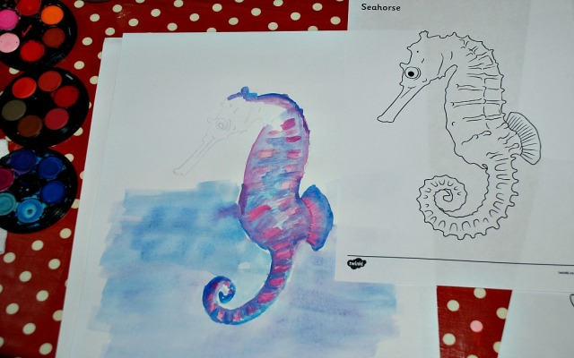 Seahorse picture created by copying a FREE to download colouring page with Twinkl Resources