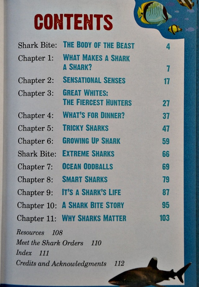 Sharks. Animal Planet Chaper Book the contents page