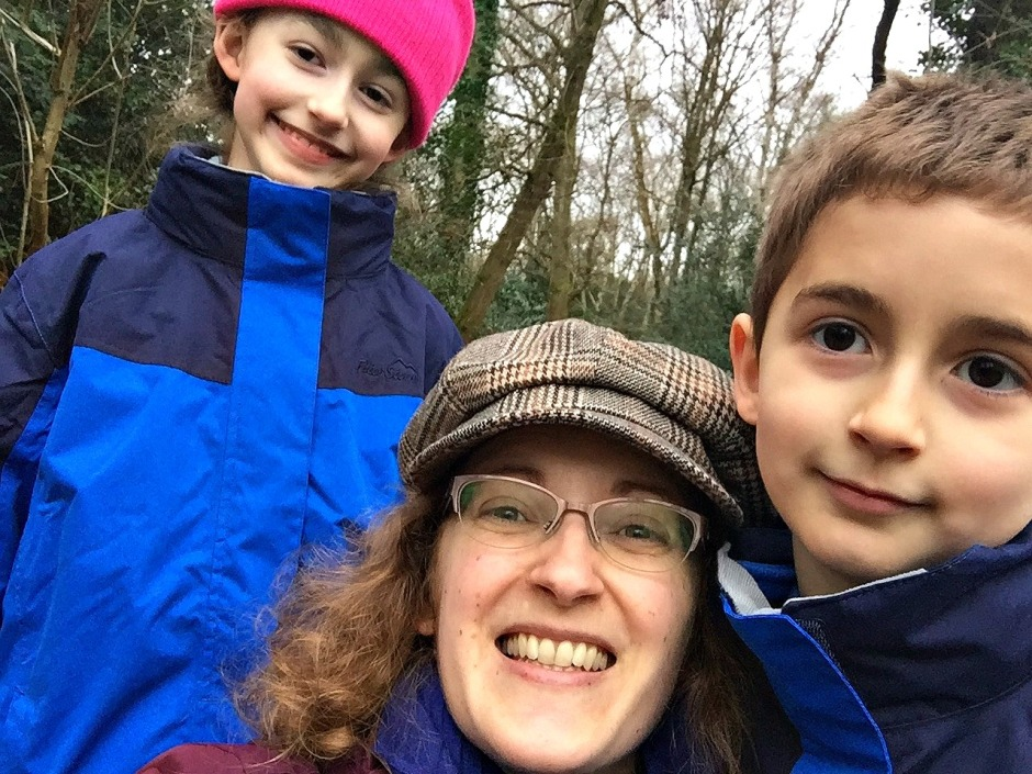 Winter walk. ofamily learning together