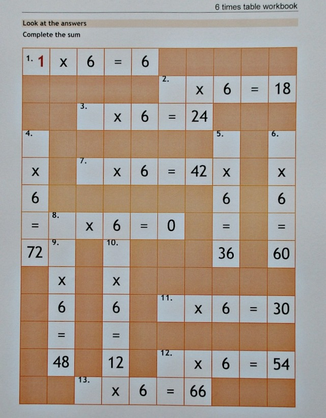 Free to download 6 time table crossword. Part of the 6 times table booklet from the Teachit primary website