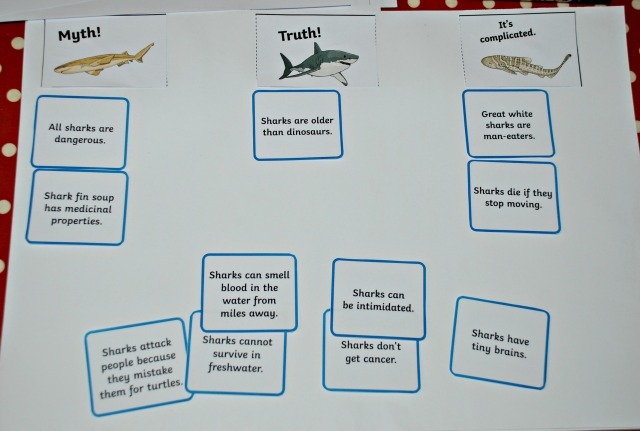 Shark Myth or Reality Sorting cards part of the Twinkl Resources Shark Lapbook