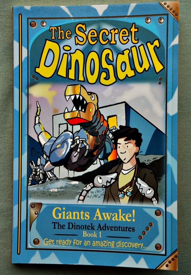 The Secret Dinosaur Giants Awake. Book 1 of the Dinotek Adventures. A fun early chapter book about metal dinosaurs that need a young boys help