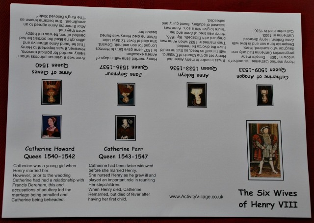 The 6 Wives of Henry VIII booklet from Activity Village