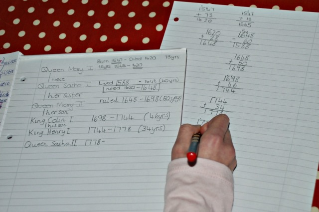 Creating her own Ruler's timeline with dates they ruled