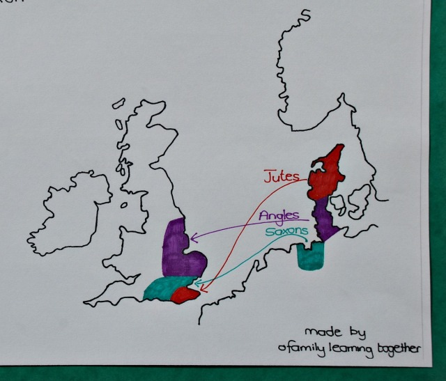 Free to download hand-drawn Anglo-Saxon England map showing the Jutes, Saxons and Angles Migration
