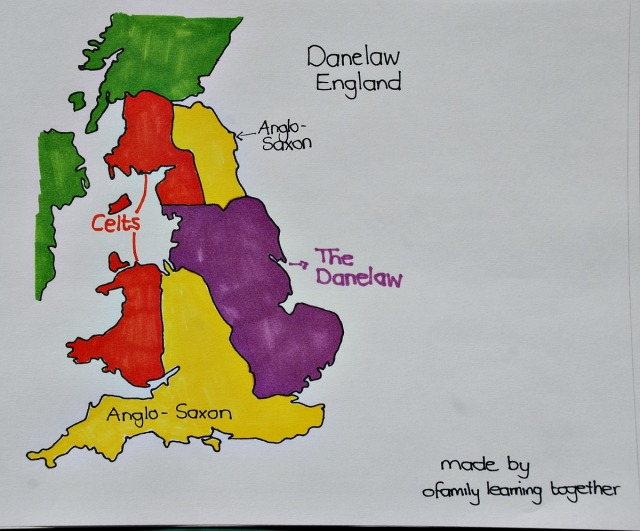 Map of Anglo-Saxon England showing the Danelaw area. Free to download and hand-drawn by ofamilylearningtogether.com