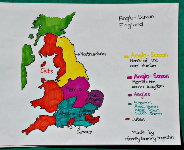 Map of the Anglo-Saxon Kingdoms of England. Free to download hand-drawn by ofamilylearningtogether.com