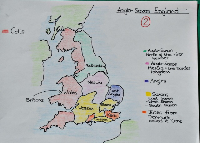 The different Kingdoms of Anglo-Saxon England. Free to download hand-drawn map by ofamilylearningtogether.com