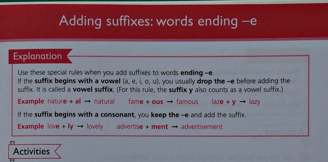 Understanding English Spelling workbook. An example of the explanations included at the top of each page