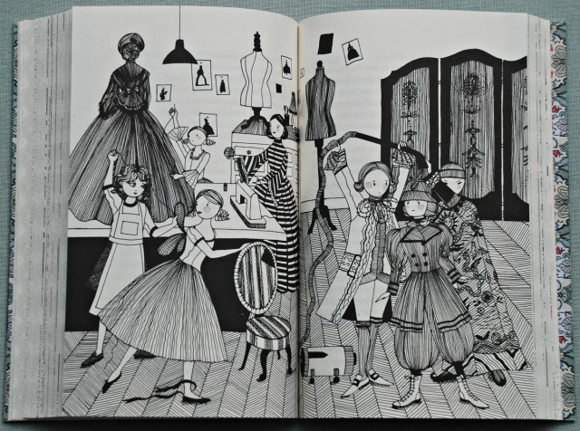 An illustration showing the period costumnes in Midnight at Moonstone
