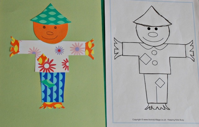 Colourful Paper Collage. A scarecrow made using a colouring page from Activity Village