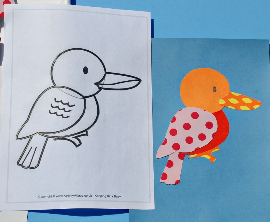 Colourful paper collage. Using a bird colouring page to create a colourful bird