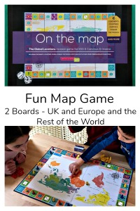 On the Map board Game by Oaka Books features 2 boards - UK and Europe and the Rest of the World