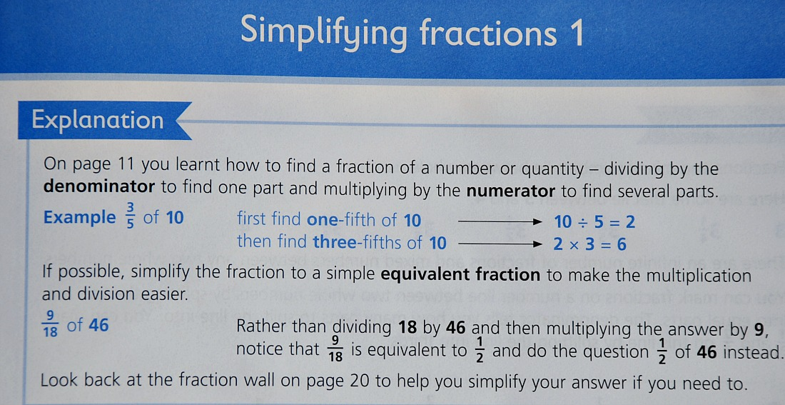 Schofield & Sims Understanding Maths Fraction workbook. An example of the explanations included at the top of each page