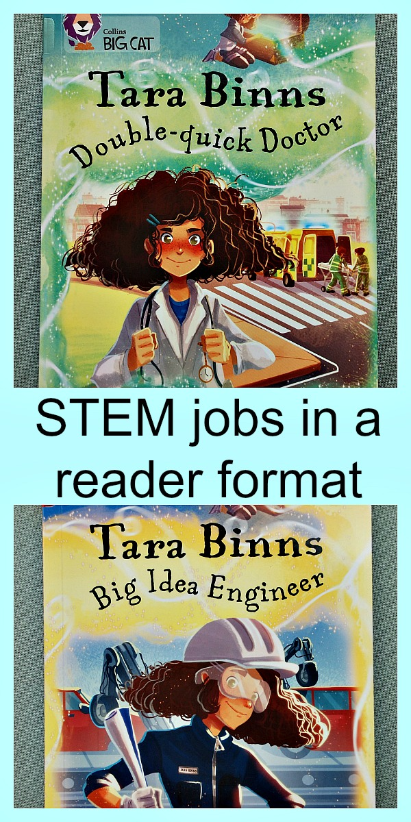 Tara Binns readers part of the Collins BIG CAT reading series. All about STEM jobs with a female lead character