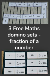 3 Free to download Maths Domino sets to use when calculating what the fraction of a number is. Maths activity