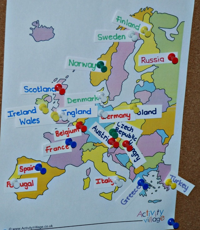 map of Europe from Activity Village with hand written labels pinned to the different countries