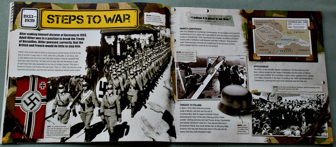 The Story of the Second World war for children. An example of a double page spread