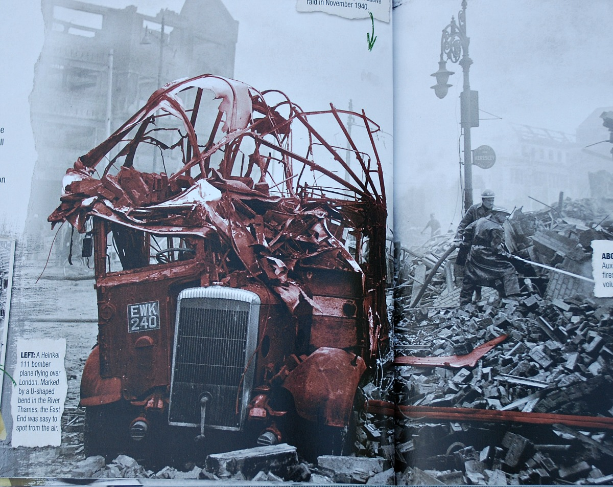 The Story of the Second World War for children. Images of destruction