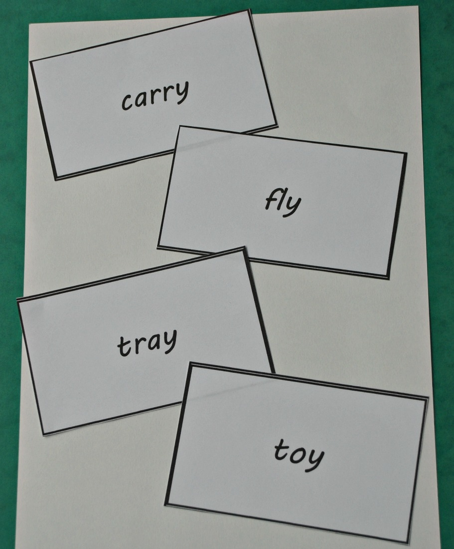 word cards to use when the kids practice using the plural spelling rules