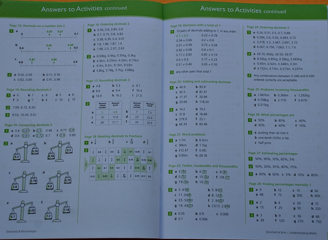 Schofield & Sims Decimals and Percentages workbook. Answers are at the back of the book