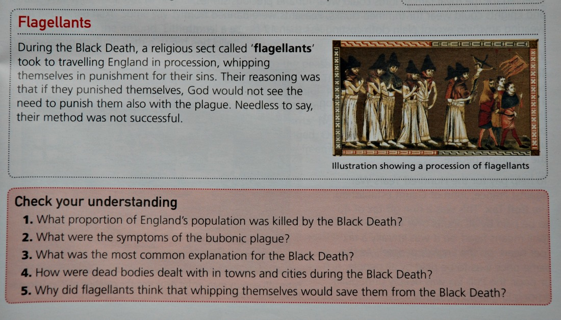Key Stage 3 Medieval History stident book by Collins.  An example of the questions at the end of each double page