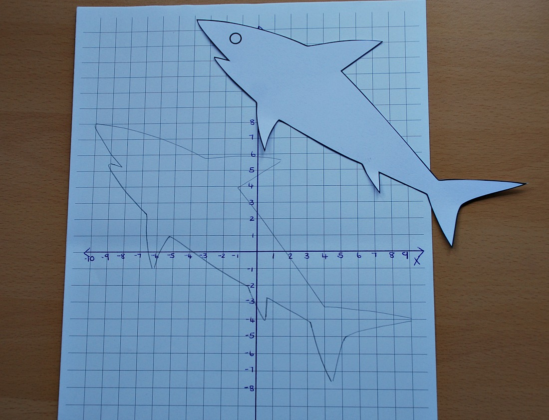 using a shark template from Activity Village to get the starting point for a coordinate image