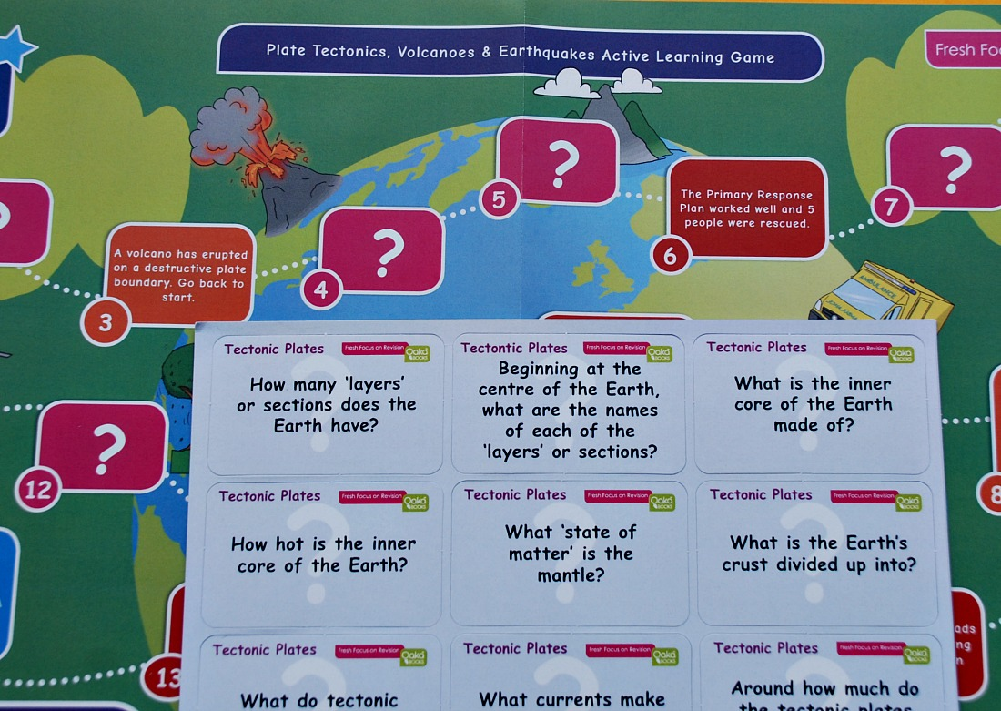 Plate Rectonics, Volcanoes and Earthquakes learning game that comes inside the topic pack