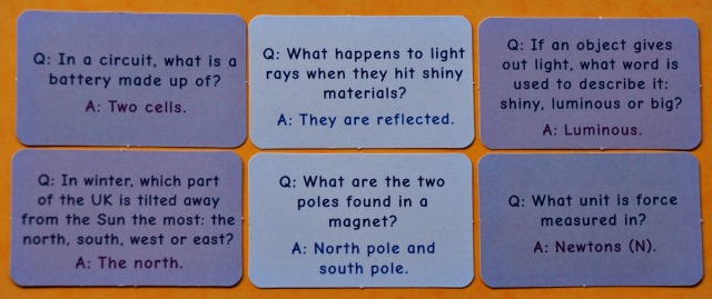 Question Cards from the Space Race game by Oaka Books