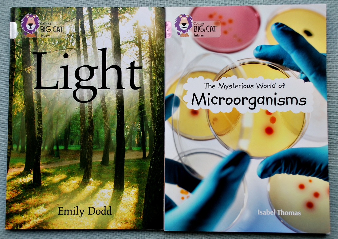 Science Books. Collins BIG CAT inform Books on Light and The Mysterious World of Microorganisms