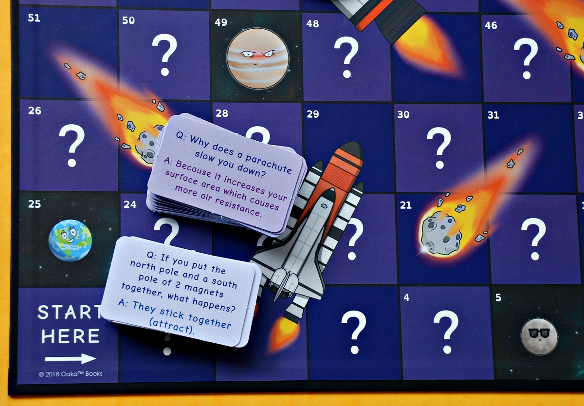 The Space race board game by Oaka Books. The board with some questions