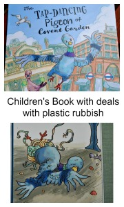 A Children's book that deals with plastic rubbish and how to harms animals. The Tap Dancing Pigeon of Covent Garden