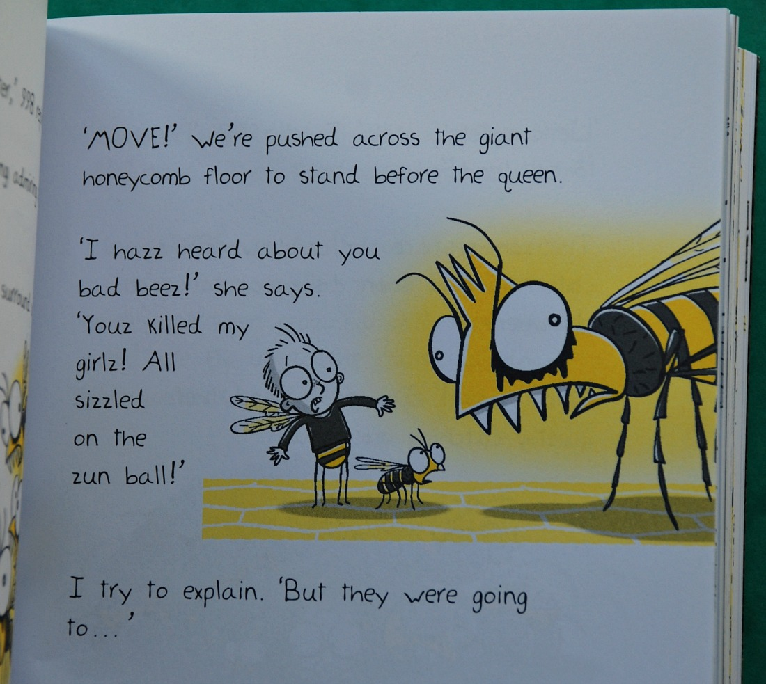 Bee Boy Attack of the Zombee. The bees talk with zz on every word