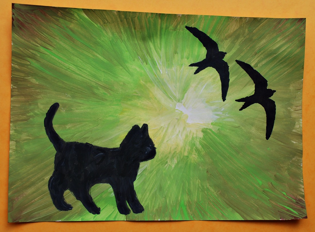 Animal silhouette paintings.  A cat with 2 swallows