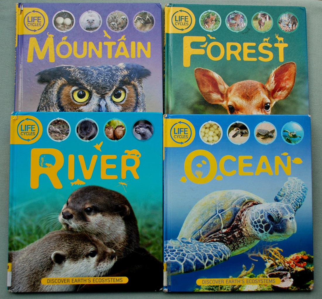 Life Cycle Books. Life cycles of animals that live in the Mountain, Forest, River and Ocean